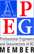 Logo: Professional Engineers and Geoscientists of BC MEMBER - BRIGHT BLUE, RED AND BLACK ON WHITE